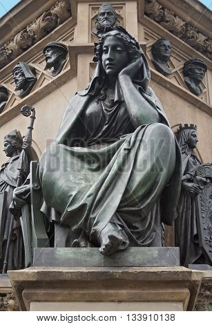 figure of the Gutenberg monument on the Rossmarkt in Frankfurt, Germany