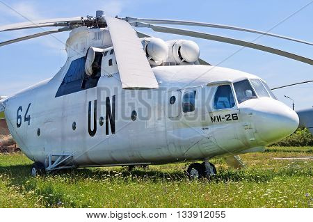 KYIV, UKRAINE - JULY 2,9 2006: Soviet military-transport helicopter Mi-26 displayed at Zhuliany State Aviation Museum in Kyiv, Ukraine. Zhuliany State Aviation Museum is the largest aviation museum in Ukraine