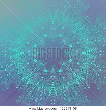 Geometric graphic background molecule and communication. Connected lines with dots. Minimalism chaotic illustration backdrop. Concept of the science, chemistry, biology, medicine, technology.