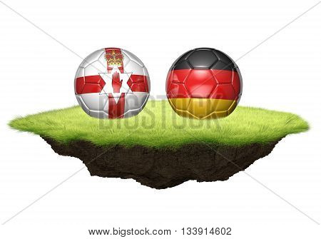 Northern Ireland and Germany team balls for football championship tournament, 3D rendering