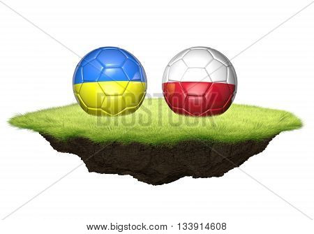 Ukraine and Poland team balls for football championship tournament, 3D rendering