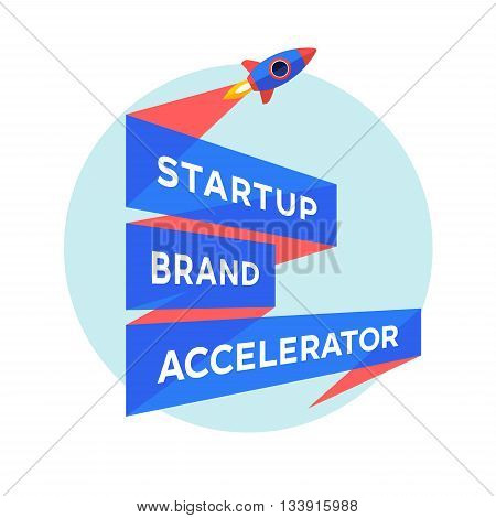 Logo for start up project with inscription Startup Brand Accelerator. Logo template with three line ribbon. Business concept and identity symbol. Startup graphic design concept. Vector Illustration