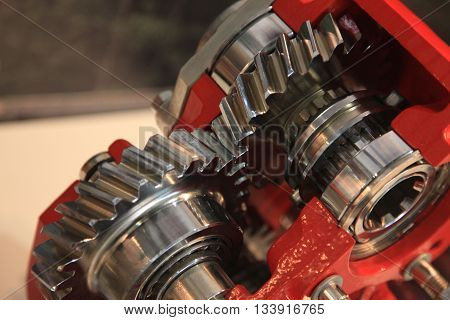 Gears with shaft and bearings in the gearbox housing