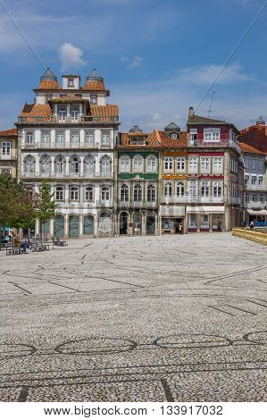 GUIMARAES, PORTUGAL - APRIL 26, 2016: Colorful houses in the historical center of Guimaraes, Portugal