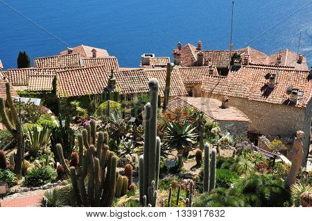 Eze France - april 19 2016 : the botanical garden above the old little village