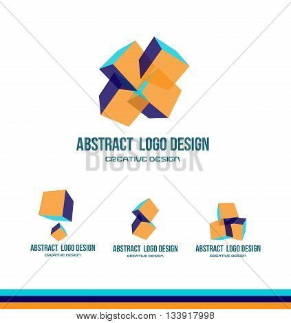 Vector company logo icon element template abstract cube design