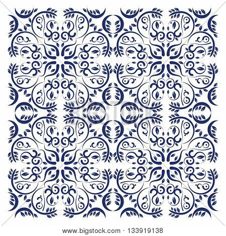 Seamless abstract ornament background. Floral elements in pattern. Vector Illustration. Pattern swatch included.