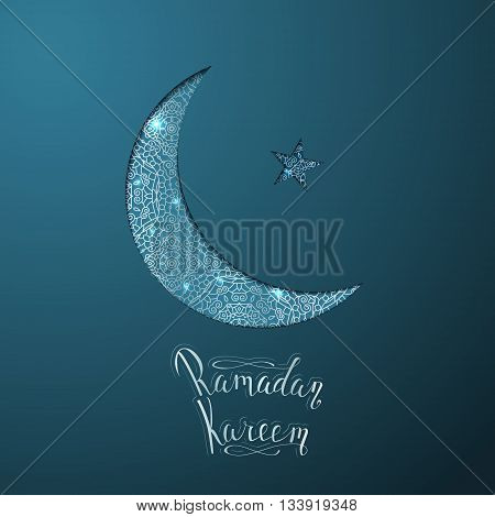 Illustration of Ramadan Kareem. Shiny moon and star made with abstract silver ornament.