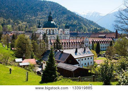 Ettal Abbey in Upper Bavaria Germany. Panorama