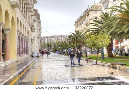 THESSALONIKI GREECE - March 14.2016: Famous street of Aristotle in the historical center of city Thessaloniki