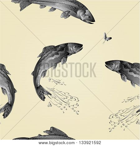 Seamless texture American brook trout salmon-predatory fish as wrought metal vintage vector illustration