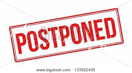 Postponed Red Rubber Stamp On White