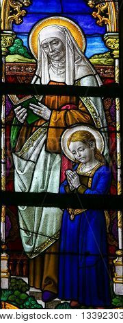 Stained Glass - Saint Ana And The Virgin Mary