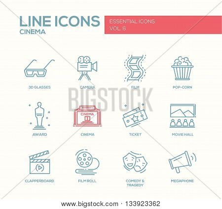 Set of modern vector simple plain line design icons and pictograms of cinema and movie production. 3d glasses, film, pop corn, camera, award, ticket, movie hall, clapperboard, roll, comedy, tragedy, megaphone