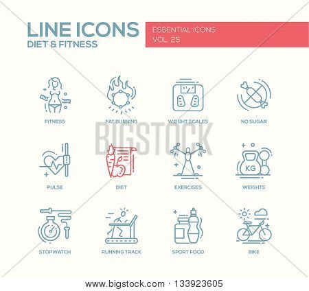 Set of modern vector plain line design icons and pictograms of diet, fitness and healthy lifestyle elements. Weight scales, pulse, exercises, bike, sport, sugar free food, stopwatch, running track