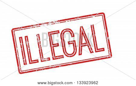Illegal Red Rubber Stamp On White