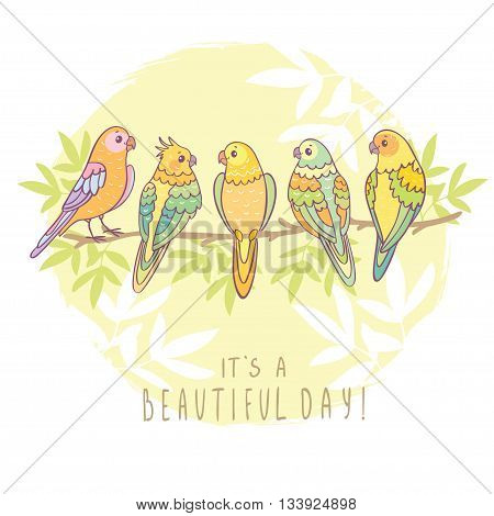 Cute five funny parrots sitting on a branch with sample text. Vector illustration