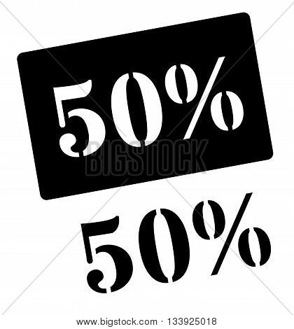 Fifty Percent Black Rubber Stamp On White