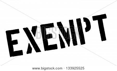 Exempt Black Rubber Stamp On White