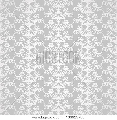 Silver seamless victorian style floral wallpaper pattern. This image is a vector illustration.