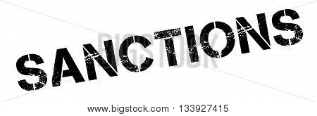 Sanctions Black Rubber Stamp On White