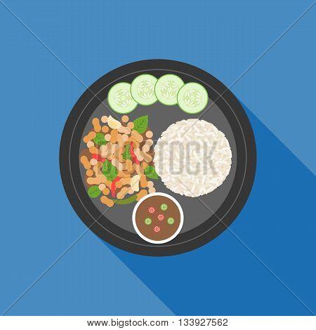 Thai food, Pad ka prao(Basil Chicken Stir-Fry), flat design
