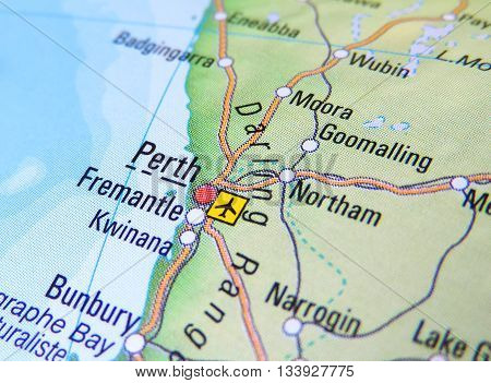 Map with focus set on Perth, Australia.