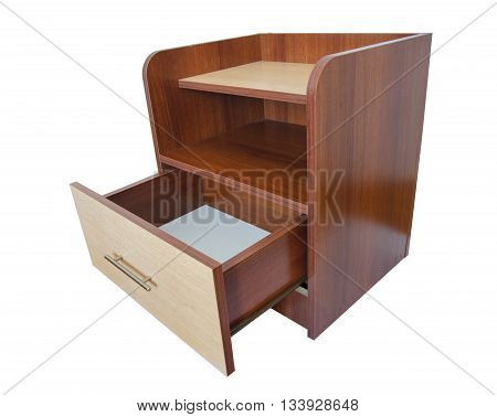 table nightstand furniture wooden isolated close up