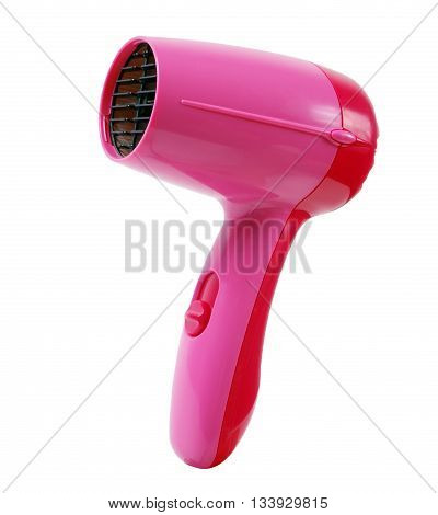 wireless small pink hairdryer isolated close up