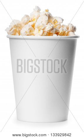 White takeaway cup full of popcorn isolated on white background. Full bucket of popcorn