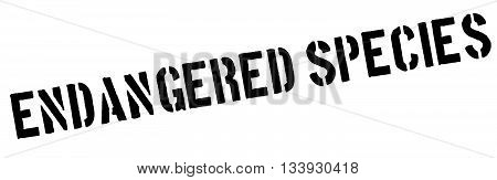 Endangered Species Black Rubber Stamp On White