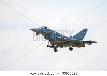 BERLIN / GERMANY - JUNE 3 2016: german eurofighter typhoon lands on airport schoenefeld berlin / germany at june 3 2016.