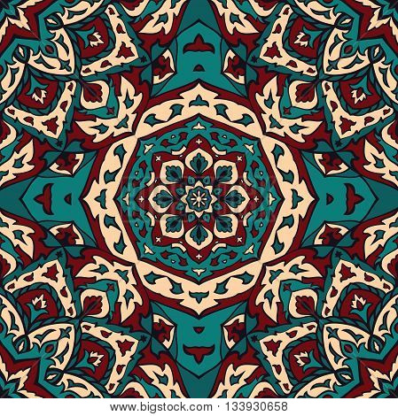 Seamless vector turquoise background with round element. Ornament with mandalas. Template for fabric wallpaper textiles bedcover carpet tile shawl cushion. Stylized colorful ethnic pattern.