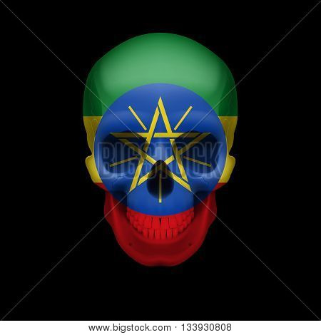 Human skull with flag of Ethiopia. Threat to national security war or dying out