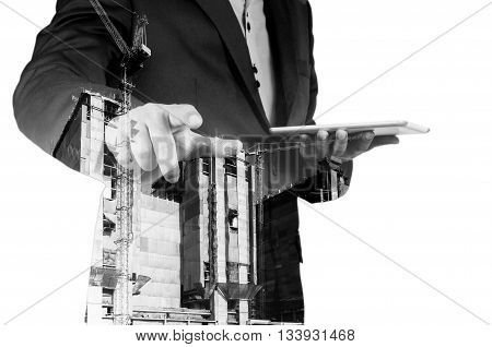 Double Exposure Of Business Man And Power Crane In The City As Construction Project Concept.