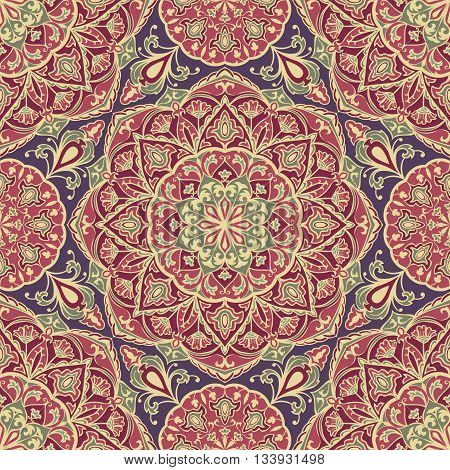 Seamless floral ornamental background. Eastern ornament with beige lines. Template for carpet shawl textile cloth. Stylized medieval mosaic. Oriental vector pattern.