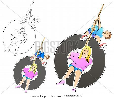 Boy and girl playing on a tire swing.  Includes full color, flat, and black outline versions.