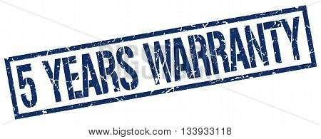 5 Years Warranty Stamp. Vector. Stamp. Sign. 5.years.warranty. Blue.