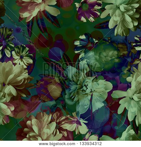art vintage colored blurred floral seamless pattern with white and purple peonies on dark green background. Bokeh effect