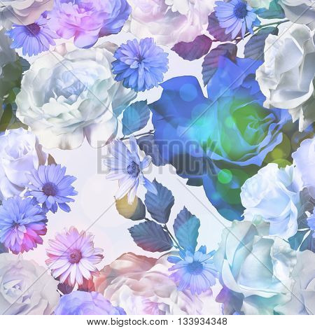 art vintage monochrome blue blurred floral seamless pattern with roses, asters and peonies on white background. Bokeh effect