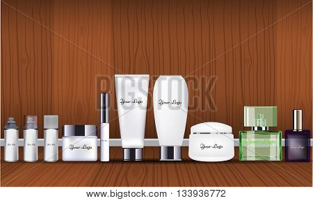 Blank cosmetic and parfume package set isolated on wood insterior background. Vector mock up design with wooden wall and floor.