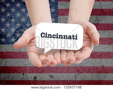 Cincinnati written in a speechbubble