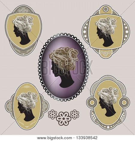Cameo. Ornate labels with female profile. Vector illustration