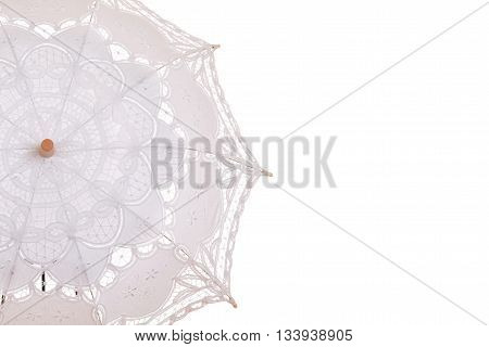 isolated closeup lace umbrella on white background