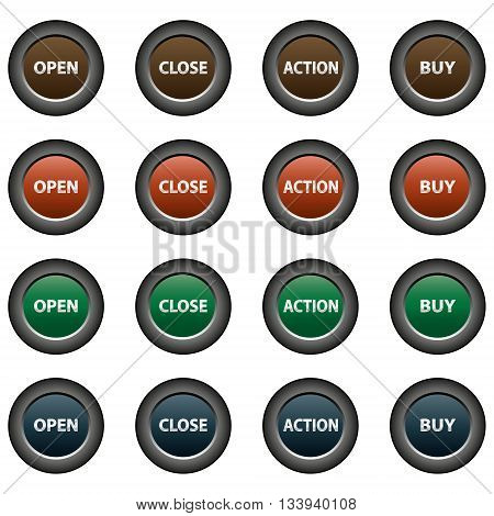 Collection of 16 isolated multicolor buttons (icons) - open button, close button, action button, buy button
