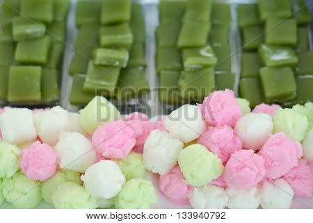 Thai colorful sponge cake and layer sweet cake (Kanom Chan)