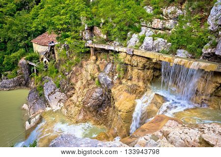 Village of Kotle old watermill on Mirna river Istria Croatia