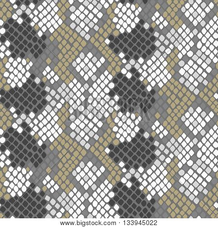 Python skin seamless vector texture. Gray and gold tone colors snake pattern ornament for textile fabric. Artificial reptile python leather pattern.