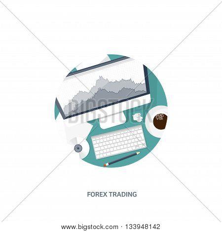 Vector illustration. Flat background. Market trade. Trading platform , account. Moneymaking, business. Analysis. Investing. EPS10 format.
