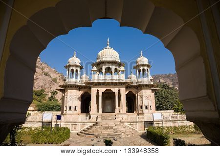 The Royal Gaitor between Jaipur and Amber with marble royal cenotaphs in Rajasthan India